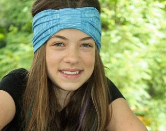 Girl's Turban Headband Blue Ear Warmer Turban Kid's Turban Unique Headscarf Trendy Head Wrap Turban Headscarves Girl's Turband (#1510)