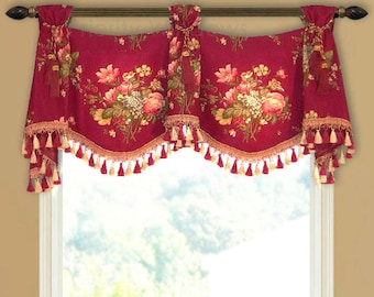 Merlot Red Valance with Trim and Tiebacks Tab Top Kingsway Floral