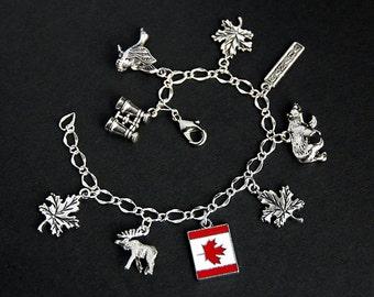 Canada Bracelet. Canadian Charm Bracelet. Travel Bracelet. Tourist Bracelet. Traveler Bracelet. Silver Bracelet. Handmade Jewelry.