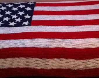 Beautiful American Flag Afghan
