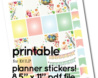 ECLP Printable Easter Watercolor Full Box Stickers  - Boxes, Headers and Flags for Planner - yellow pink blue green