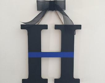 Thin Blue Line Door Letter, Door Hanger, Decorative Letters, Police Wreath, Law Enforcement Decor, Handmade, Gift For Men, Gift For Women