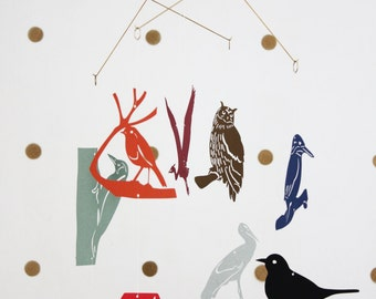 Mobile 'the birds' paper, brass and linen thread