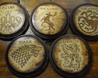 Game of Thrones Coaster Set, Handmade, Wood Burning, Laser Etched