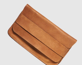 Leather Envelope Clutch in Brown