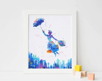 Mary Poppins print Watercolor Art nursery Wall decor, Marry poppins Watercolor Print, Disney Characters Poster, Instant download