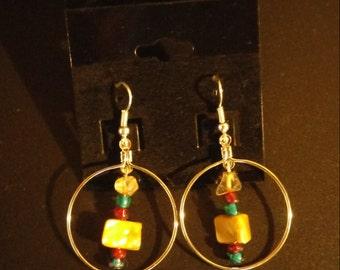 Large Hooped Glass Rock Earrings