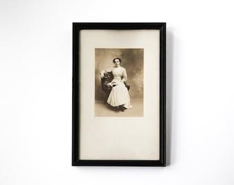 Antique Sepia Photo Portrait, Black Wooden Frame