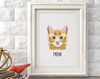 Meow, Cat Art Print, Printable Wall Art Prints and Posters, Modern Art, Digital Prints, Minimal,Typography, Home Decor