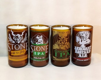 Scented Craft Beer Soy Candle - Upcycled Stone Brewing 12oz Beer Bottles