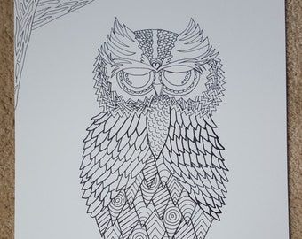 Owl on branch line design pen drawing 11 x 14 on bristol paper