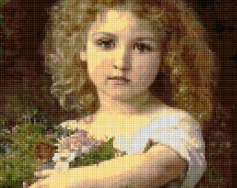 Victorian Child with Flowers Cross Stitch pattern -  Bouguereau - PDF Instant Download!