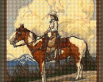 Vintage Oregon Cowgirl Cross Stitch travel poster pattern PDF - Instant Download!