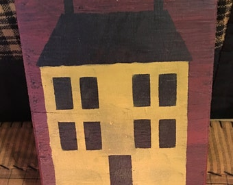 Primitive Mustard Saltbox House Block