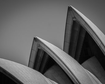 Monochrome wall art print of Sydney Opera House