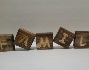 Large Hand Made Wood Blocks Spelling FAMILY