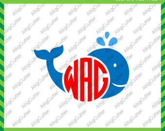 Whale Smile Monogram Frame SVG DXF PNG eps animal nautical Cut Files for Cricut Design, Silhouette studio, Sure Cuts A Lot, Makes the Cut