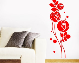 Art Deco Rose Flowers Wall Sticker - Art Vinyl Decal Transfer - by Rubybloom Designs