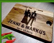 Wedding Gift Cutting Board / Wedding Gift Anniversary Gift / star wars Cutting Board / I love you I know cutting board