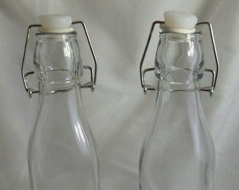 Glass Bottle with hinged rubber seal lid - 250 ml - storage - mixed medium - craft supply