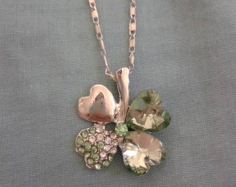 Silver & Green 4 Leaf Clover Lucky Necklace