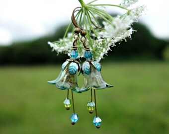 Victorian Earrings, Vintage Earrings, Flower Earrings, Floral Earrings, Turquoise Earrings, Antique Earrings, Bronze Earrings, Swarovski.