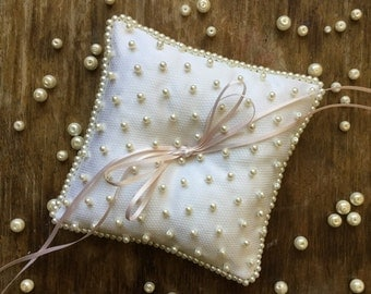 Vintage style beaded handmade Ring Bearer Pillow with pearl embroidery