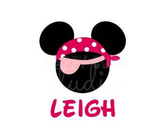 Personalized Pirate Bandana Minnie Mouse Matching Mother Daughter Family Disney Cruise Disney Iron On Decal Vinyl for Shirt 127