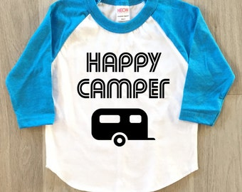 Happy Camper tshirt - baby boy or girl clothes toddler shirt