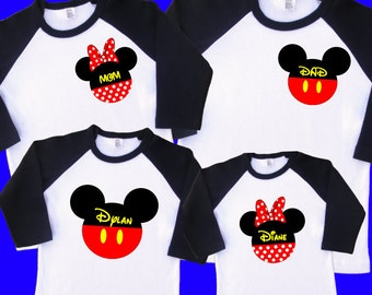 Mickey and Minnie Family Raglan Shirts. Personalized with Names. Includes 2 Toddler & 2 Adult Sizes (up to XL). Disney Cruise Shirts (35161)
