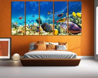 Underwater World Tropical Fish Wall Art / Aquatic Fine Art Print Aquarium / Sea Life Art Nautical Ocean Art Canvas Print Room Wall Art