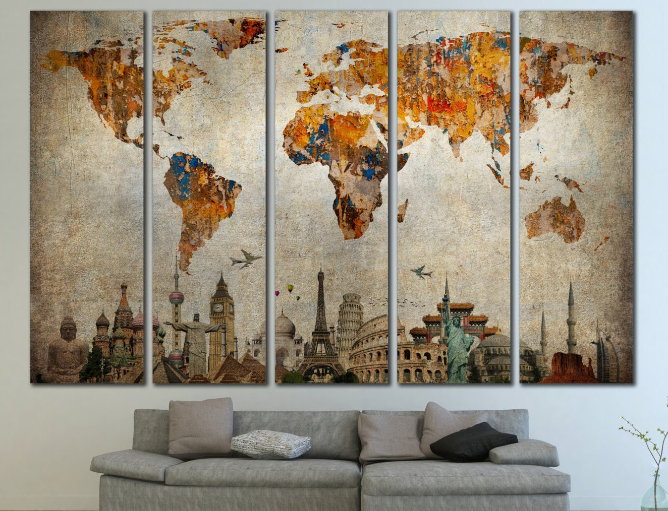 large world map panels poster decor canvas world map print. Black Bedroom Furniture Sets. Home Design Ideas