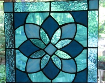 Turquoise, Teal, Stained Glass, Star, Flower, Suncatcher, Colored Glass