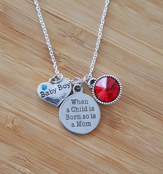New Mom Necklace New Mom Gift New Mom Push Present New Mommy Gifts Mom Necklace Birthstone Mom Gifts Mom Jewelry Birthstone Necklace for Mom