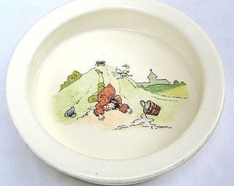 Antique Royal Winton Grimwades Victorian Child's Jack and Jill Plate / Bowl