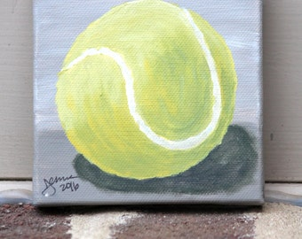 Tennis Ball on Gray: Original Acrylic Painting on Stretched Canvas, 4x4 inches