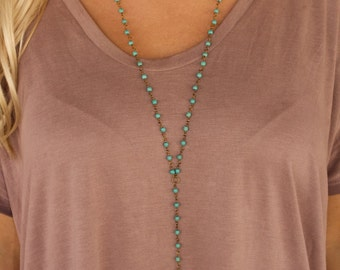 Turquoise Rosary Cow Skull Necklace