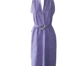 Vintage Halston Lilac Ultra Suede Dress With Silver Elsa Peretti Belt 1976