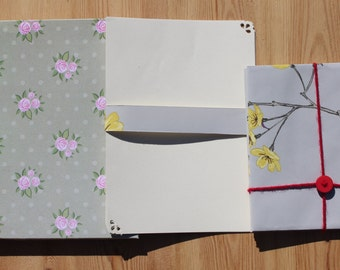 Grey and Yellow Letter Writing Set - boxed stationery set of 6, writing paper, gift for her, birthday, handmade by the crafty red button