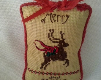 Finished Cross Stitch Tree Ornament