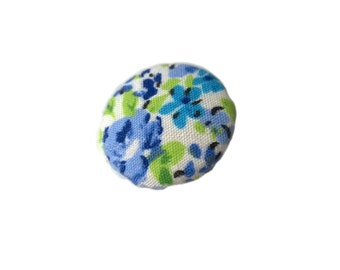 Blue and Green Roses Floral Flowers Fabric Covered Metal Buttons 22mm