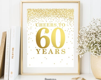 Cheers to 60 Years, Set of 2 Printables, 60th birthday decor, 60th birthday sign, Birthday party decorations, Birthday Printable Banner