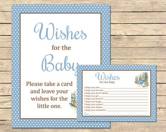 Peter Rabbit Wishes for Baby Printable Cards and Sign, Beatrix Potter Wish Cards, Peter Rabbit Baby Shower Wish Card Instant Download, 014-A