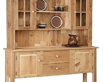 """Reclaimed Barn Wood Hutch/China Cabinet - Pine Wood - 72""""Wx18""""Dx82""""H"""