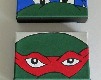 "Hand-Painted Teenage Mutant Ninja Turtles Wall Art, set of 4, 6"" x 4"" Acrylic on Stretched Canvas"