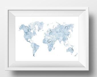 Blue watercolor world map, Printable world map,