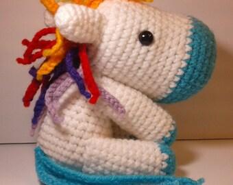 Crochet horse, amiurumi horse, Rainbow horse