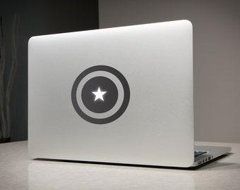 Captain America Shield Avengers Light - Macbook Decal Sticker Laptop Vinyl Decals Stickers Apple Mac Pro Air Handmade Gifts