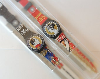 Vintage Swatch Watches Ravage Set GZS05 Pack1 Limited Edition, Napolean, Josephine, set of two swatches