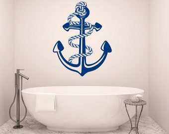 Bathroom Wall Decals Anchor Vinyl Sticker Decals Sea Ocean Nautical Anchor  Marine Decor Stickers Kids Baby